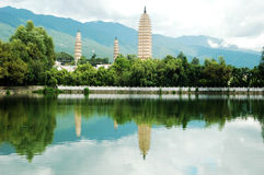 Three Pagodas in dali Stock Photo
