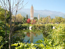 Three pagodas Dali, China Royalty Free Stock Photo