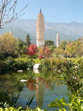 Three pagodas Dali, China Royalty Free Stock Photos
