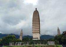 Three pagodas in Dali city stock photos