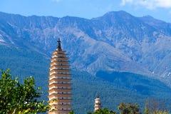 The Three Pagodas San Ta Si, dating back to the Tang period 618-907 AD, China, Dali, Yunnan, China. Dali, Yunnan, China. November, 2018 stock photo