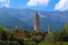 The Three Pagodas San Ta Si, dating back to the Tang period 618-907 AD, China, Dali, Yunnan, China. Dali, Yunnan, China -. November, 2018 royalty free stock photos
