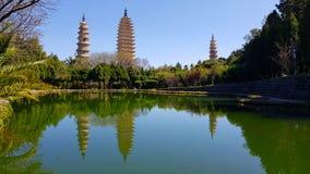 The Three Pagodas San Ta Si, dating back to the Tang period 618-907 AD, China, Dali, Yunnan, China. View of the Three Pagodas San Ta Si, dating back to the Tang stock photos
