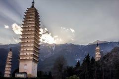 Three Pagodas at Sunset Stock Photography