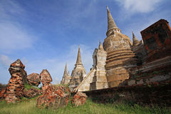 Three pagodas at Wat Phra Sri Sanphet in Ayutthaya Royalty Free Stock Images