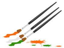 Three paint brush color in Indian trio color Stock Images