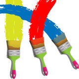 Three paint brushes Royalty Free Stock Photos