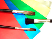 Three paint brushes Royalty Free Stock Photo