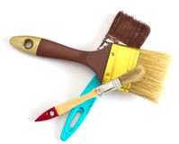 Three paint brushes isolated Stock Image