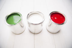 Three paint cans Stock Image