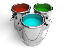 Three paint metal cans on white. 3d Stock Photos