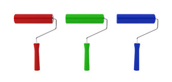 Three paint rollers. 3d illustration on white background Royalty Free Stock Photography