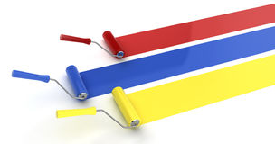 Three paint rollers. 3d illustration on white background Royalty Free Stock Images