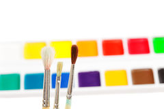 Three paintbrushes against various paints Royalty Free Stock Photos