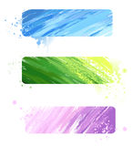 Three painted banner. Three of the banner, painted blue, pink and green paint stock illustration