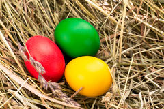 Three painted Easter eggs on the hay. Three painted in green, red, yellow Easter eggs on the hay Royalty Free Stock Photo