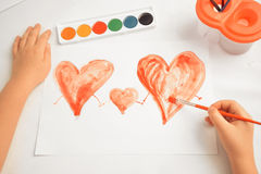 Three painted hearts, concept of family Royalty Free Stock Photo