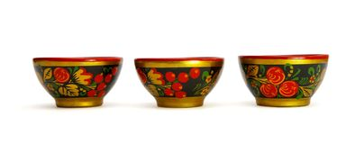 Three painted Russian wooden cups Royalty Free Stock Photography