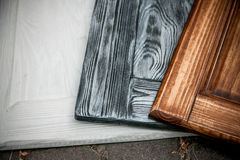 three painted wooden desks Royalty Free Stock Photography