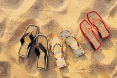 Three pair of sandals Stock Photos