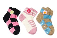 Three pair of woolen socks Royalty Free Stock Photography