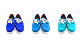 Three pairs of blue Colors man shoes Stock Photo