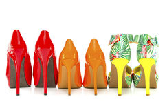 Three pairs of colorful High Heels Shoes Stock Image