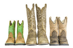 Three Pairs of Cowboy Western Boots Royalty Free Stock Photos