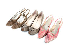 Three pairs female shoes Royalty Free Stock Photography
