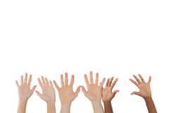 Three pairs of hands waving Stock Images