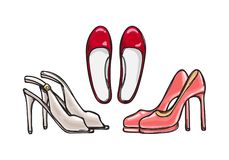 Three Pairs of Heel Shoes. Fashionable Footwear Stock Image