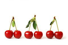 Three Pairs of Juicy Cherries Stock Images