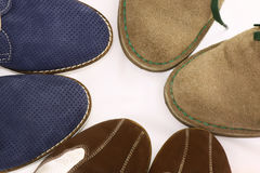 Three pairs of man shoes Stock Photos