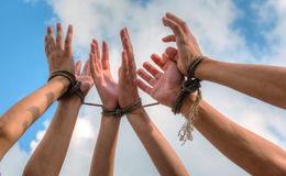 Free Three Pairs Of Human Hands Tied Up Together Stock Photos - 29017123