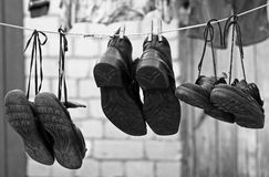 Three pairs of old shoes Royalty Free Stock Images