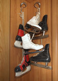 Three pairs of old skates Stock Photos