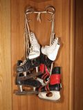 Three pairs of old skates Stock Photography