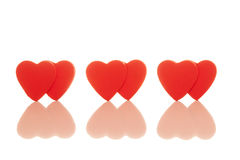 Three pairs of red hearts Royalty Free Stock Photos