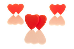 Three pairs of red hearts Royalty Free Stock Image