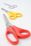 Three pairs of Scissors. Stock Photos