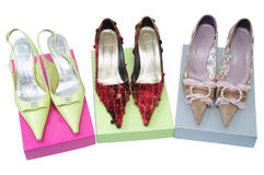 Three pairs shoes Royalty Free Stock Images
