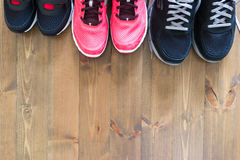 Three pairs of shoes for sport Royalty Free Stock Photography