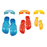 Three pairs of slippers for family sea. Stock Photo