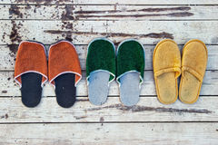 Three Pairs of Slippers Stock Photography