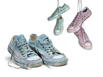 Three pairs of sneakers in different colors Stock Photo
