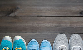 Three pairs of sport sneakers Stock Image