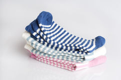 Three pairs of striped socks. Isolated Royalty Free Stock Images