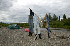 Three pairs of waders hanging out to dry. On lashed tree branches on a shore of the Kipchuck River in Alaska with tents in the background on a cloudy day Stock Photography
