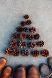 Three pairs of winter boots and a tree of Pinecones Royalty Free Stock Photos