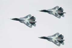 Three PAK FA T-50 jets Stock Photos